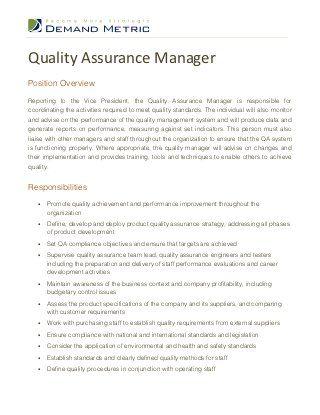 Quality Assurance Manager Job Description Quality Assurance Job Description Management