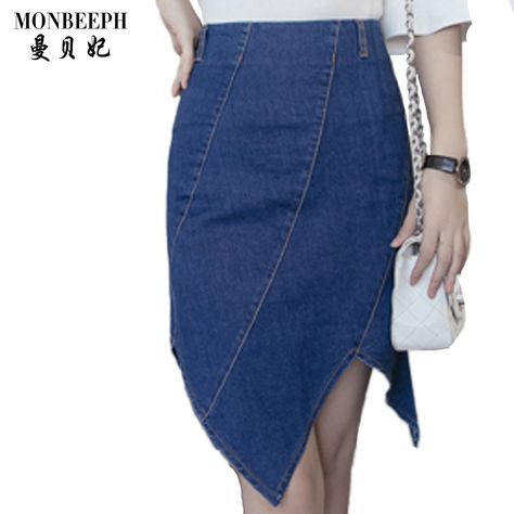 a287e649c 2017 New Fashion Women High Waist Asymmetrical Denim Skirt Fish Tail Ruffles  Summer jeans Skirt Knee Length plus size S 5XL-in Skirts from Women's  Clothing ...
