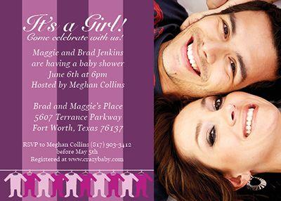 Customizable baby shower invitation template - Stripes