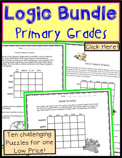 Logic Puzzles for Second Grade All the Latest, Greatest TPT