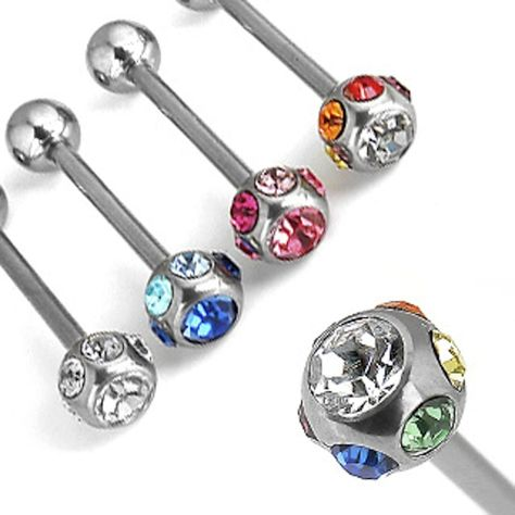 Sold Individually Freedom Fashion 316L Surgical Steel Ferido Paved Ball Navel Ring