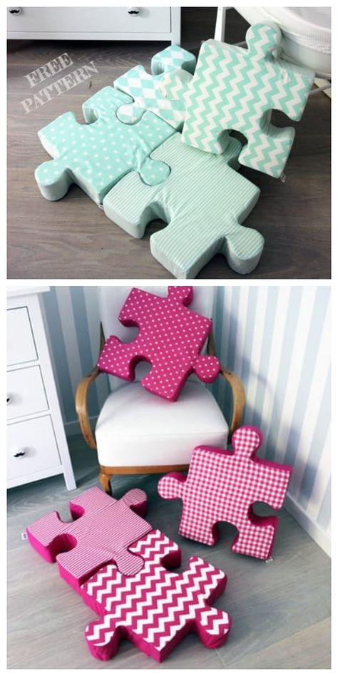 DIY Jigsaw Puzzle Pillow Free Sewing Pattern + Video - Diy and crafts interests Baby Sewing Projects, Sewing Projects For Beginners, Sewing Crafts, Sewing Patterns Free, Free Sewing, Dress Patterns, Free Pattern, Diy Bebe, Ideias Diy