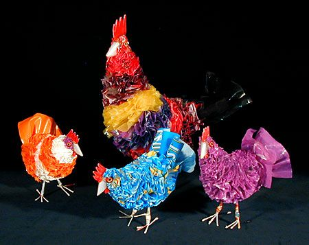 Recycled Plastic Bag Chickens South Africa Recycled plastic bags & wire Assorted colors.