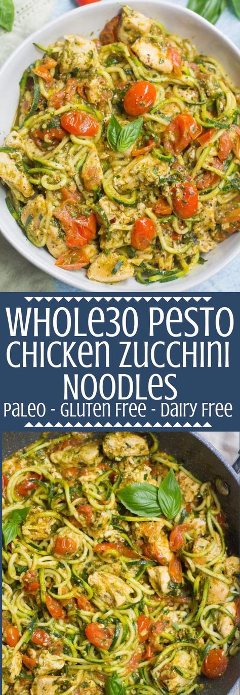 Whole30 Pesto Chicken Zucchini Noodles are a delicious, simple dinner. Paleo and gluten free, this easy dinner comes together in under 30 minutes! #whole30 #pesto #chicken #zoodles #paleo #glutenfree #dairyfree #healthy #recipe