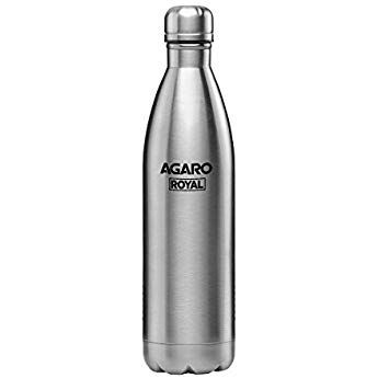 Agaro Royal Stainless Steel Flask 1 Litre Grey Bottle Personalized Bottles Water Bottle
