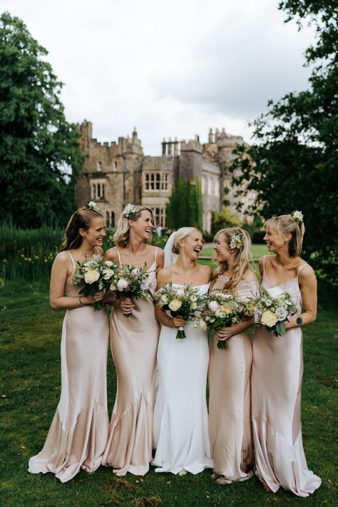 Hawarden Castle Pavilion Wedding with Off the Shoulder Savannah Miller Wedding Dress and Pink Satin Bridesmaid Dresses by Michael Maurer Photography Champagne Bridesmaid Dresses, Bridesmaids And Groomsmen, Wedding Bridesmaids, Bridesmaid Bouquets, Wedding Dresses, Ghost Bridesmaid Dress, Mismatched Bridesmaid Dresses, Beautiful Bridesmaid Dresses, Pavilion Wedding