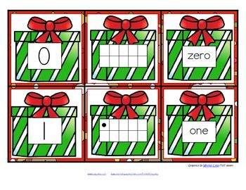 FREE This is a set of number cards with a Christmas theme, 0-10. Three cards for each number - the number, a ten-frame representation, and the number word. Use for recognition, sequence, memory games, hiding and finding games, and of course, matching. 6 pages