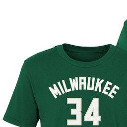 brand new d40ab 0ff2e Milwaukee Bucks Giannis Antetokounmpo Name & Number T-Shirt ...