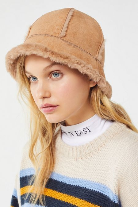 Sherpa Suede Bucket Hat Women Hat Outfits Outfits With Hats Hat Fashion