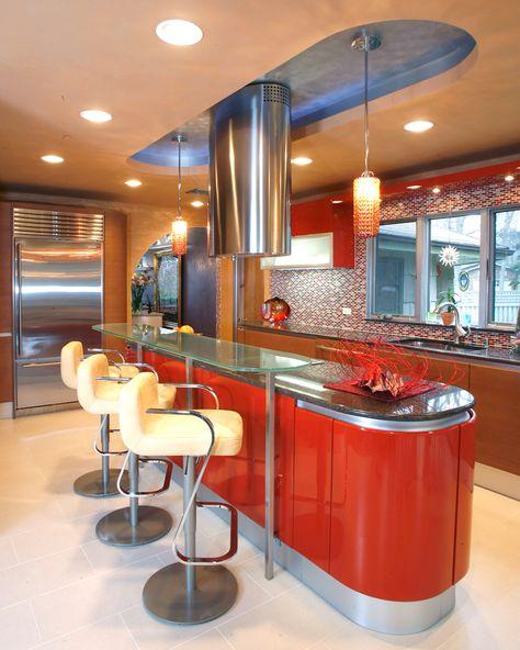Modern Red Kitchen – by http://classickitchenandbathcenter.com