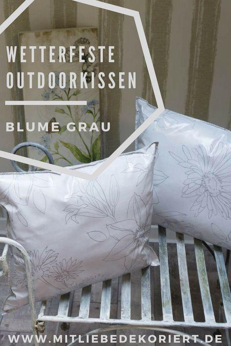 Wachstuchkissen Outdoor Kissen Blume In Grau