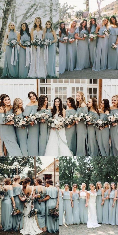 silver sage green bridesmaid dresses wedding color ideas for 2019 www. autumn wedding colors / wedding in fall / fall wedding color ideas / fall wedding party / april wedding ideas