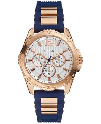 Guess Intrepid 2 Ladies' Chronograph Rose Gold-tone and Blue Strap Watch. The Guess Intrepid 2 is a stunning ladiesï¾' watch. A chronograph model, the textured white dial is housed in a rose gold-tone case mounted on a striking rose gold-tone and blue rub