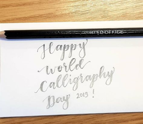 A very #simple #pencil #calligraphy #lettering whilst I'm at #work to #celebrate #worldcalligraphyday2019 ✍💜 #SaySomethingSpecial #lifeidesign #calligraphylettering #calligraphynewbie #practice #beginner #basic #pencildrawing #pencilsketch #handlettered #handlettering #handletteringdaily #handletteringpractice #handletteringbeginner #handletteringnewbie #moderncalligraphy%