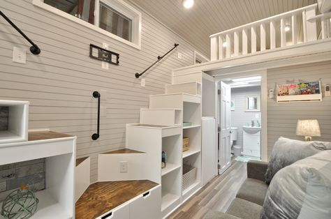 Modern Spacious The Kate Tiny House Features A Full Kitchen | Modern House Ladder Design | Inside Outside | Metal Balustrade | Loft | Outdoor Balcony | Beautiful