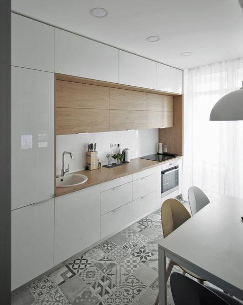 Les cuisines modernes chêne blanc mat mosaïque carrelage mural - carrelage mur cuisine moderne