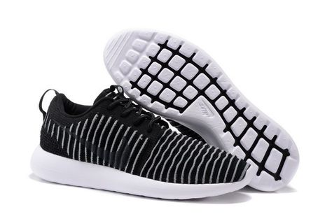 3c101fa38c7a Nike Flyknit Roshe Run Two Black White