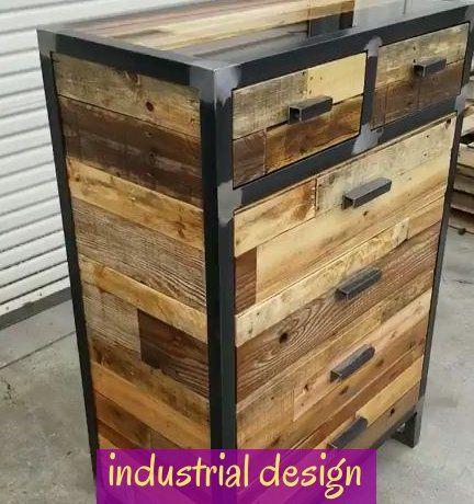 Industrial Design Style Tall Vertical Dresser Made From Reclaimed Wood Industrialdesign In 2020 Industrial Design Furniture Wood Steel Vintage Industrial Furniture
