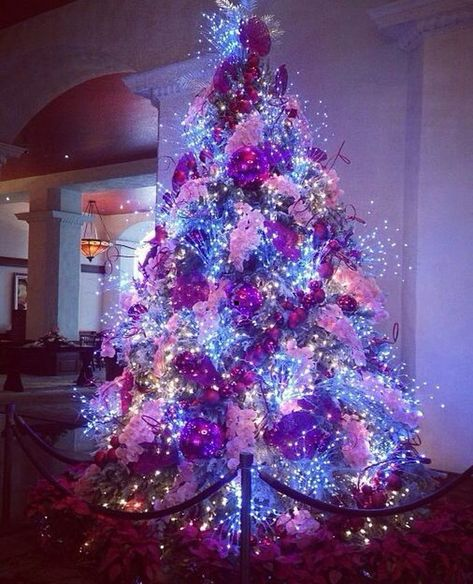 Big W Christmas Tree Lights Big Christmas Lights Tree In 2020 Purple Christmas Tree Decorations Purple Christmas Purple Christmas Tree