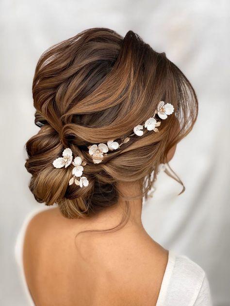 Bridal Hair Vine, Wedding Hair And Makeup, Wedding Hair Accessories, Hair Makeup, Bridal Hair Braids, Headband Wedding Hair, Hair For Bride, Bridal Hair Side Swept, Bridal Hair Updo With Veil