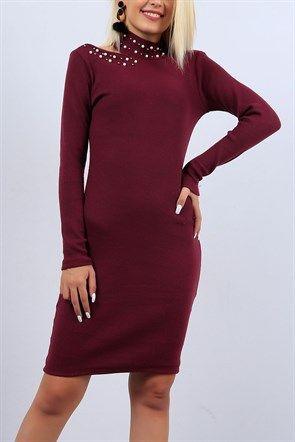 Inci Detayli Bordo Triko Elbise 10207b Giyim Elbise The Dress