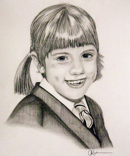 Charcoal Pencil Portrait of a young girl by Portrait from a photo