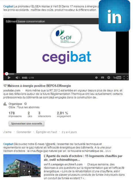 La page LinkedIn de Cegibat  retrouver les institutionnels sur les