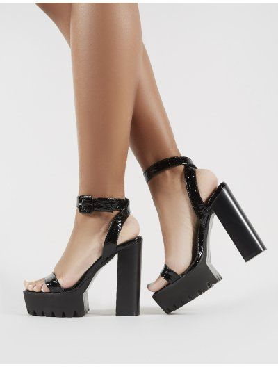 Deja Vu Cleated Platform Block Heels in Black Croc in 2019