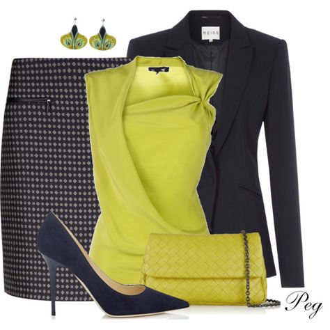 """LOVE LOVE LOVE THIS OUTFIT COMBO: """"Chartreuse and Navy"""" by derniers on Polyvore"""