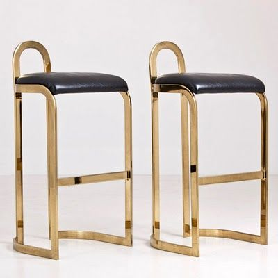 Pierre Cardin Bar Stools brass leather mcm