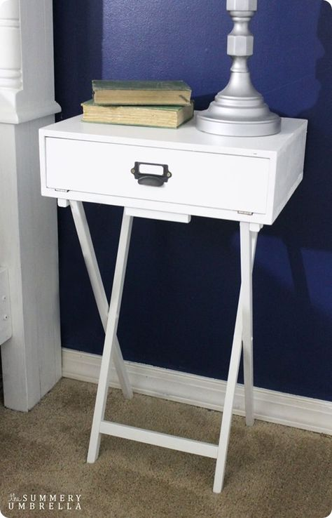 DIY Furniture ~ Turn a $10 folding table from Wal-mart into a Pottery Barn knock off campaign style nightstand!