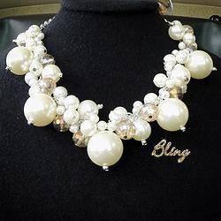 6de34866c3d8 Rich bib statement necklace with white pearls lapis by evarugina ...
