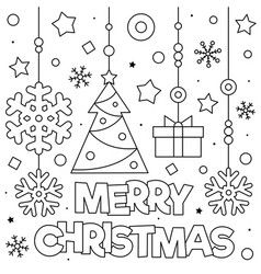 Merry Christmas Coloring Page Black And White Vector Christmas Coloring Sheets Merry Christmas Coloring Pages Christmas Coloring Pages