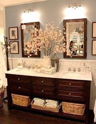 Double Sink Bathroom Decorating Ideas Elegant Furniture Double Sink Bathroom Vanity Decorating In 2020 Brown Bathroom Decor Living Room Wood Floor Blue Bathroom Decor