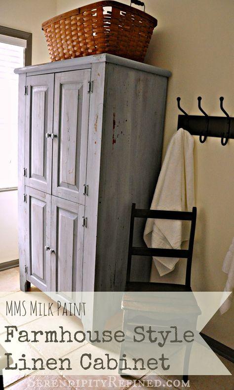Pretty Milk Painted Rustic Farmhouse Linen Cabinet Tutorial