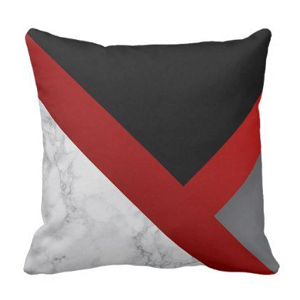 Red Black And Gray Abstract Marble Throw Pillow Zazzle Com Red Apartment Decor Black Grey Decor Black Apartment Decor