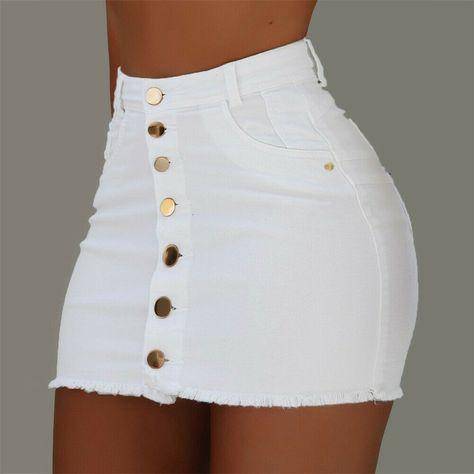 OFF Jeans Skirts Buttons High-Waist Mini Fashion Women Summer Strench All-Matching Denim Trend Fashion, Teen Fashion Outfits, Girl Outfits, Summer Outfits, Fashion Skirts, Women's Fashion, Bodycon Fashion, Fashion Women, Cute Casual Outfits