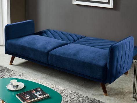 Canape 3 Places Convertible Clic Clac En Velours Joris Bleu Nuit Salons De Ferme Canape 3 Places Sofa En Velours
