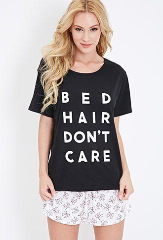 Bed Hair Don't Care PJ Set   FOREVER21 - 2000115479