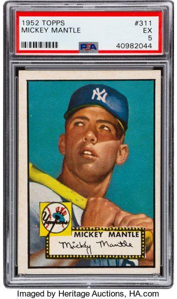 Baseball Cards Singles 1950 1959 1952 Topps Mickey Mantle 311 Psa Ex 5 Mickey Mantle Baseball Card Values Baseball Cards