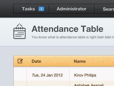Attendance Interface design, Ui ux and Ui design - attendance list