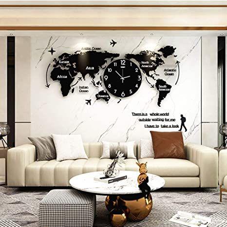 Hgjdksj Large Wall Clocks World Map Wall Clock Modern Minimalist Wall Clock Home Bedroom Living Ro Minimalist Wall Clocks Living Room Office Large Wall Clock