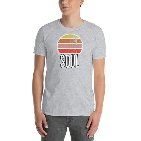 Soul Vintage Sunset Short-Sleeve Unisex T-Shirt. You've now found the staple t-shirt of your wardrobe. It's made of a thicker, heavier cotton, but it's still soft and comfy. And the double stitching on the neckline and sleeves add more durability to what is sure to be a favorite! • 100% ring-spun cotton • Sport Grey is 90% ring-spun cotton, 10% polyester • Dark Heather is 65% polyester, 35% cotton • 4.5 oz/y² (153 g/m²) • Pre-shrunk • Shoulder-to-shoulder taping • Quarter-turned to avoid crease