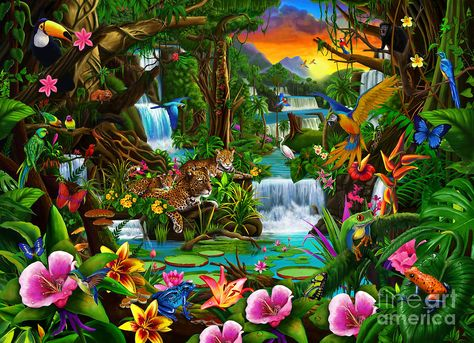 Beautiful Tropical Rainforest Drawings | Beautiful Rainforest is a piece of digital artwork by Gerald Newton ...