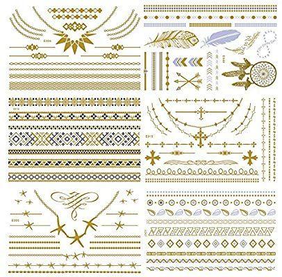 Amazon Com Temporary Metallic Henna Tattoo 6 Sheet Jewelry
