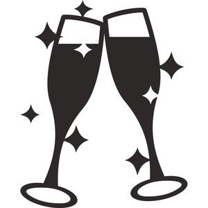 Champagne Glasses Toast Line Art Drawings Silhouette Design Design Store