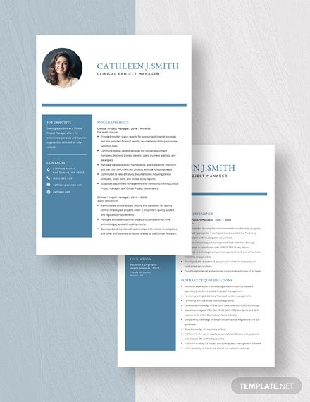 Clinical Project Manager Resume Template In 2020 Project Manager Resume Manager Resume Resume Template