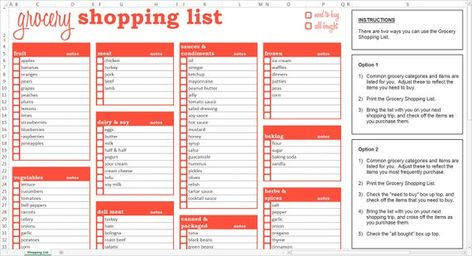 Grocery Shopping List Excel Template Editable Printable
