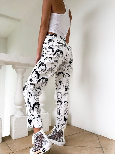 Stylist Tips: Give 'em something to talk about.These high-waisted pants have an allover abstract pattern and elastic zip side for a comfy fit. Designed in NZ