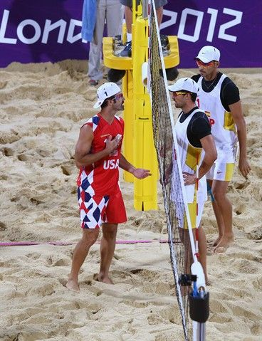 Todd Rogers Of United States Clashes With Pablo Herrera Allepuz Of Spain During The Men S Beach Volleyball Preliminary Ma Beach Volleyball Men Beach Volleyball